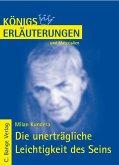 Die unerträgliche Leichtigkeit des Seins von Milan Kundera. Textanalyse und Interpretation. (eBook, PDF)