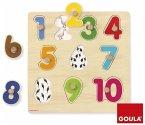 Goula D53074 - Holzpuzzle Zahlen, 10-teilig Zahlenpuzzle