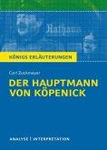 Der Hauptmann von Köpenick von Carl Zuckmayer. Textanalyse und Interpretation mit ausführlicher Inhaltsangabe und Abituraufgaben mit Lösungen. (eBook, PDF)