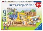 Ravensburger 08899 - Vorsicht Baustelle, 2 x 24 Teile Puzzle