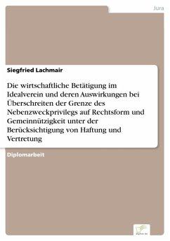 Die wirtschaftliche Betätigung im Idealverein und deren Auswirkungen bei Überschreiten der Grenze des Nebenzweckprivilegs auf Rechtsform und Gemeinnützigkeit unter der Berücksichtigung von Haftung und Vertretung (eBook, PDF) - Lachmair, Siegfried