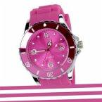 Uhr Silikon-Chrome-Style metallic pink