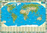 Illustrierte Weltkarte Tiere, Posterkarte