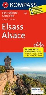Kompass Fahrradkarte Elsass, 4 Bl.; Alsace / Kompass Fahrradkarten