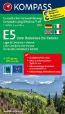 Kompass Wander-Tourenkarte E5, Vom Bodensee bis Verona; E5, Lago di Costanza - Verona / E5, Lake Constance to Verona / E
