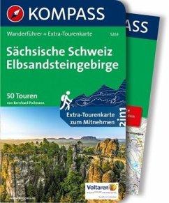 Kompass Wanderführer Sächsische Schweiz, Elbsandsteingebirge, m.1 Karte - Pollmann, Bernhard