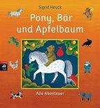 Pony, Bär und Apfelbaum