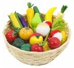 Goki 51660 - Obst und Gemüse im Korb für Kaufladen Holz, 23teilig