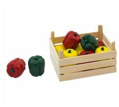 Goki 51675 - 10 Paprika in Holzkiste für Kaufladen