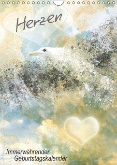 Herzen - Immerwährender Geburtstagskalender (Wandkalender immerwährend DIN A4 hoch) - Viola, Melanie