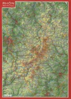 Rhön, Reliefpostkarte; Rhön Mountains