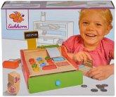 Eichhorn 100003717 - Kasse, Holz mit Kartenlesegerät und Scanner, inkl. Spielgeld, Karte und Papierrolle