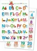 Fragenbär-Lernposter: Mein erstes ABC der Tiere + Zahlen und Mengen von 1 bis 20, 2 Poster