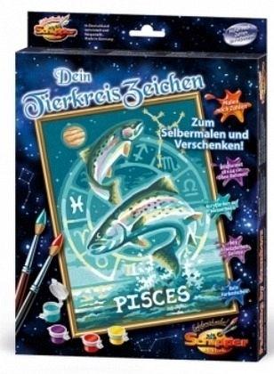 Tierkreiszeichen Fische Malen Nach Zahlen Auf Leinwand Mal Sets Bildgröße 18 X 24 Cm