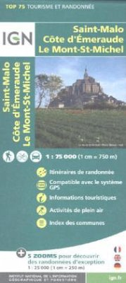 IGN Karte, Tourisme et Randonnée Saint Malo, Côte d'Émeraude, Le Mont-St-Michel