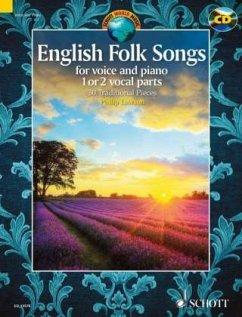 English Folk Songs, 1-2 Singstimmen und Klavier, m. Audio-CD - Lawson, Philip