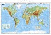 Stiefel Wandkarte Kleinformat Die Welt, physisch, mit Metallstäben