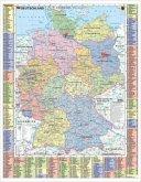 Stiefel Wandkarte Kleinformat Deutschland politisch und Autokennzeichen, ohne Metallstäbe