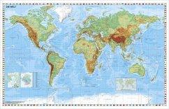 Stiefel Wandkarte Kleinformat Weltkarte, physisch, ohne Metallstäbe
