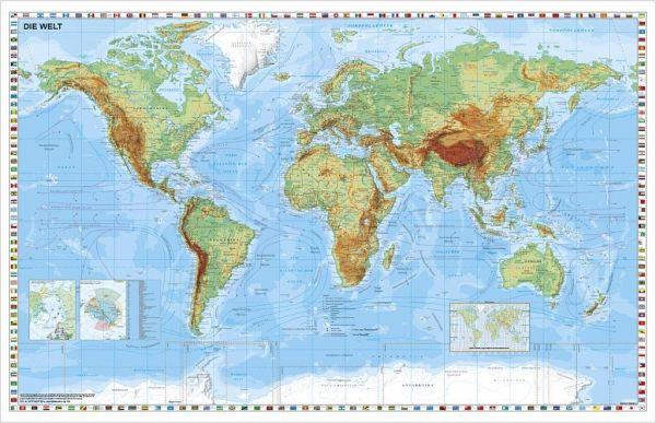 Stiefel Wandkarte Kleinformat Weltkarte Physisch Ohne