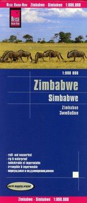 Reise Know-How Landkarte Simbabwe; Zimbabwe; Zimbabue