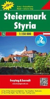 Freytag & Berndt Auto + Freizeitkarte Steiermark, Top 10 Tips, Autokarte 1:150.000; Freytag & Berndt Leisure map Styria
