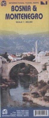 International Travel Map ITM Bosnia & Montenegro
