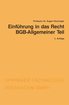 Einführung in das Recht BGB-Allgemeiner Teil - Klunzinger, Eugen