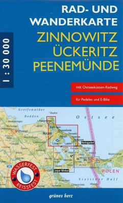 Rad- und Wanderkarte Zinnowitz, Ückeritz, Peene...