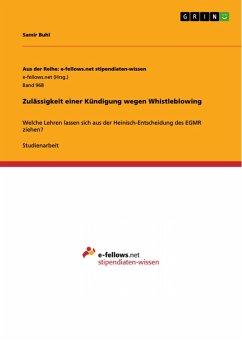 Zulässigkeit einer Kündigung wegen Whistleblowing (eBook, PDF)
