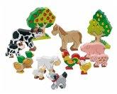 Goki 53034 - Bauernhoftiere, Set 14 Teile