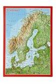 Reliefpostkarte Skandinavien