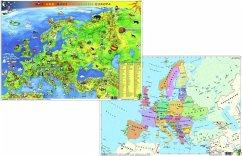 Stiefel Max und Maxi entdecken Europa, Kindereuropakarte physisch / politisch - DUO-Schreibunterlage DIN A3