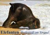 Elefanten - Badespaß am Strand (Wandkalender immerwährend DIN A3 quer)