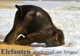 Elefanten - Badespaß am Strand (Wandkalender immerwährend DIN A2 quer)