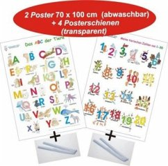 Das ABC der Tiere + Meine tierischen Zahlen von 1-20, 2 Poster + 4 Posterschienen