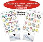 Das bunte Kinder-ABC + Meine tierischen Zahlen von 1-20, Deutsch/Englisch, 2 Poster + 4 Posterschienen