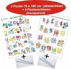Das bunte Kinder-ABC + Meine tierischen Zahlen von 1-20, 2 Poster + 4 Posterschienen