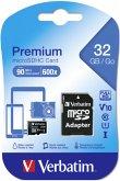 Verbatim microSDHC 32GB Class 10 incl Adapter