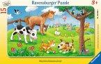 Ravensburger 06066 - Knuffige Tierfreunde, Rahmenpuzzle 15 Teile