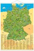 Illustrierte Deutschlandkarte, Planokarte, m. Metall-Beleistung