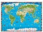 Erlebniskarte illustrierte Weltkarte, Planokarte, Metall-beleistet