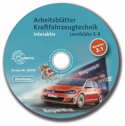 arbeitsbl tter kraftfahrzeugtechnik interaktiv lernfelder 5 8 cd rom software. Black Bedroom Furniture Sets. Home Design Ideas