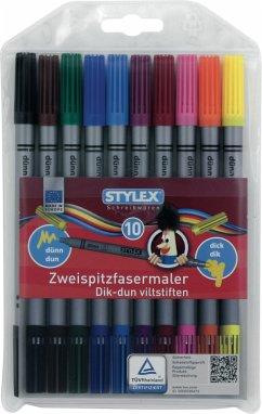 Stylex Fasermalstifte Zweispitz 10er