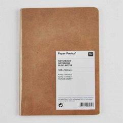 Notizbuch A6 Kraftpapier-Umschlag, blanko mit Kraftpapier-Seiten