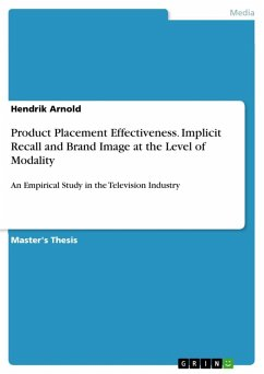 Product Placement Effectiveness. Implicit Recall and Brand Image at the Level of Modality (eBook, ePUB)