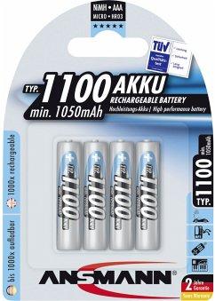 1x4 Ansmann NiMH Akku 1100 Micro AAA 1050 mAh
