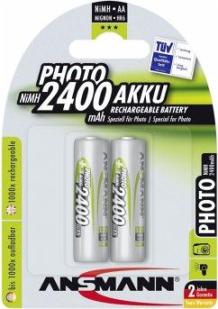 1x2 Ansmann NiMH Akku Mignon AA 2400 mAh PHOTO