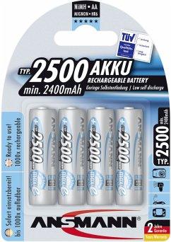 1x4 Ansmann maxE NiMH Akku 2500 Mignon AA 2400 mAh