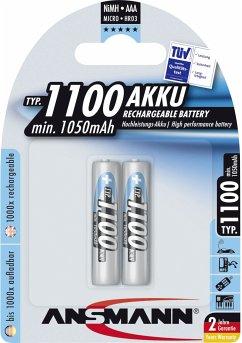 1x2 Ansmann NiMH Akku 1100 Micro AAA 1050 mAh